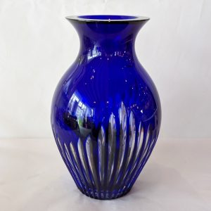 Cobalt Blue Cut to Clear Heavy Glass Vase