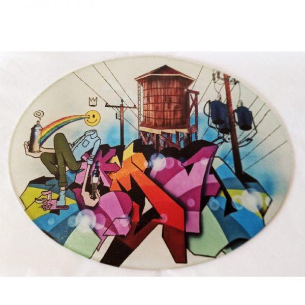 Glass Cutting Board - Graffiti Water Tower