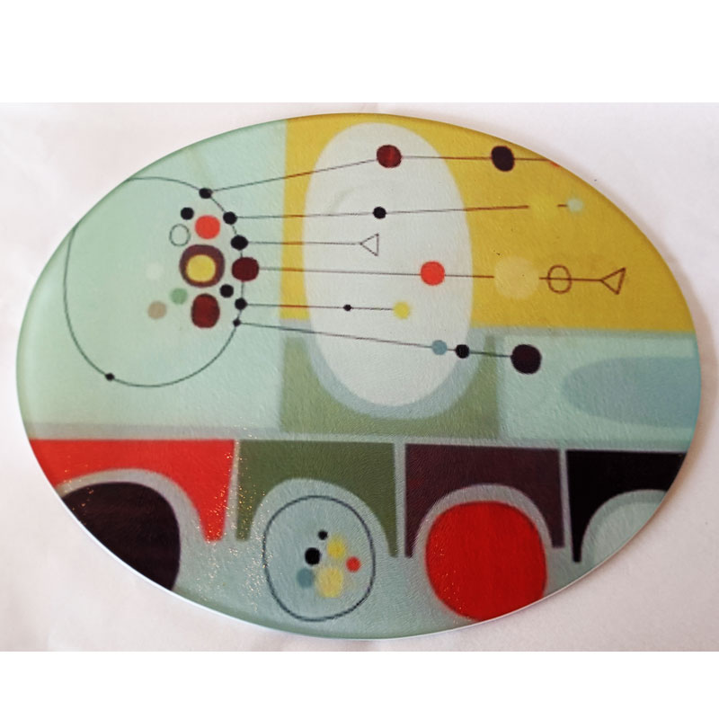 Glass Cutting Board - Retro Circles