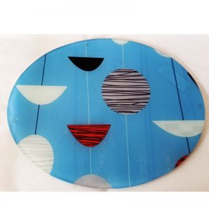 Glass Cutting Board - Retro Blue Sky