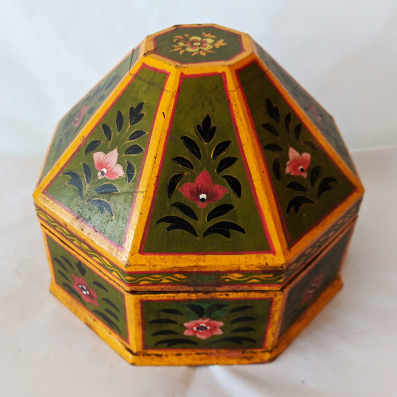 Hand Painted Wood Octagon Box