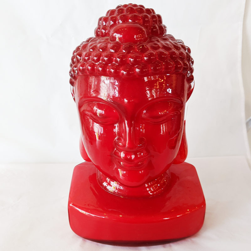 Red Glass Buddha Head