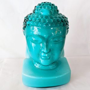 Teal Glass Buddha Head