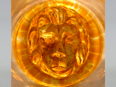Lion Medallion Scotch Glass detail
