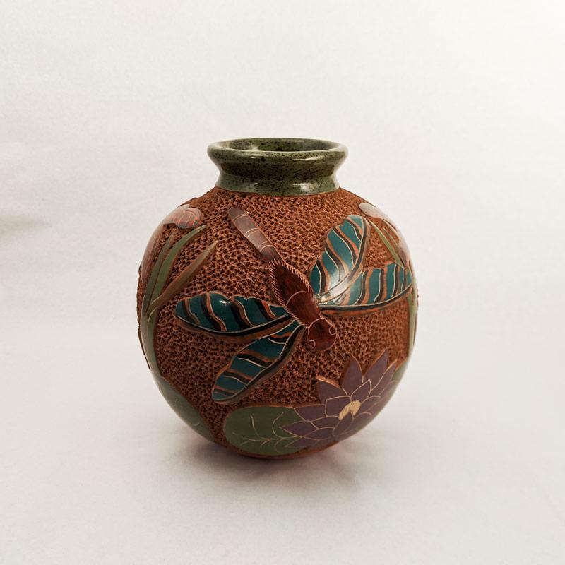 Nicaraguan Ceramic Vessel - Dragonflies