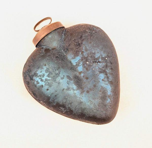 Cobalt Heart Antiqued Glass Ornament