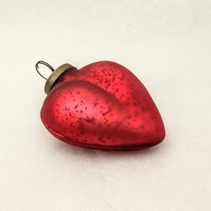 Red Antiqued Glass Heart Ornament