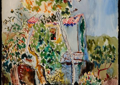 "Basel Cottage, 1942 - 30"" x 40"" - Watercolors on Paper"