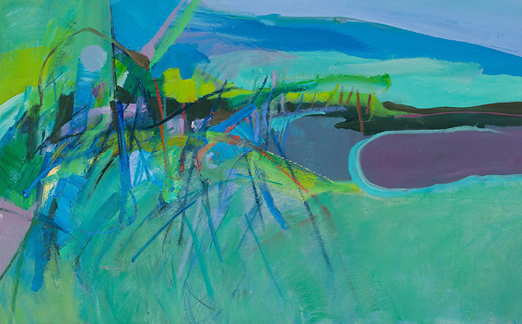 By the Creek 30 x 48 acrylic and pastel on canvas