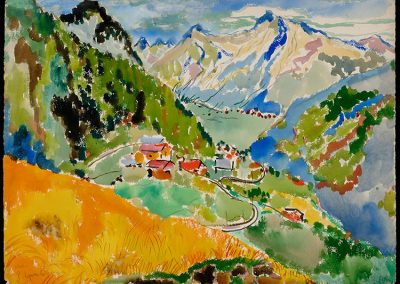 "Klosters, 1941 - 30"" x 40"" - Watercolors on Paper"