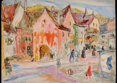 "Münsterberg, Switzerland, 1944 - 30"" x 40"" - Watercolors on Paper"