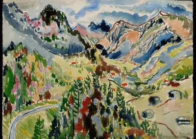 "Swiss Landscape II, 1944 - 30"" x 40"" - Watercolors on Paper"