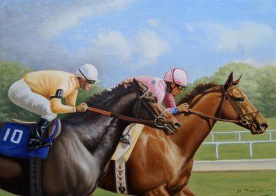 Winning at Churchill Downs - 48 x 36 Oil on Canvas
