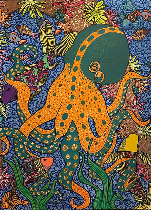 Pulpo 30 x 40 Acrylic on Wood