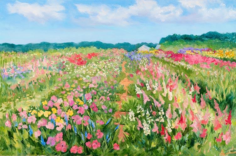 Balsam Farms Flower Rows - 42 x 36 - Oil on Canvas