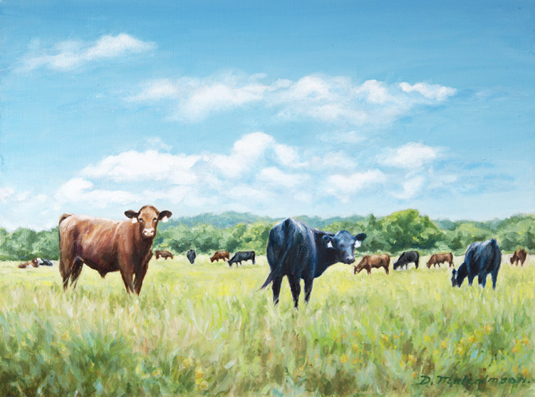 Cattle Grazing in the Field - 30 x 24 - Oil on Canvas