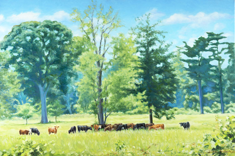 Cattle Grazing under the Trees - 42 x 30 - Oil on Canvas