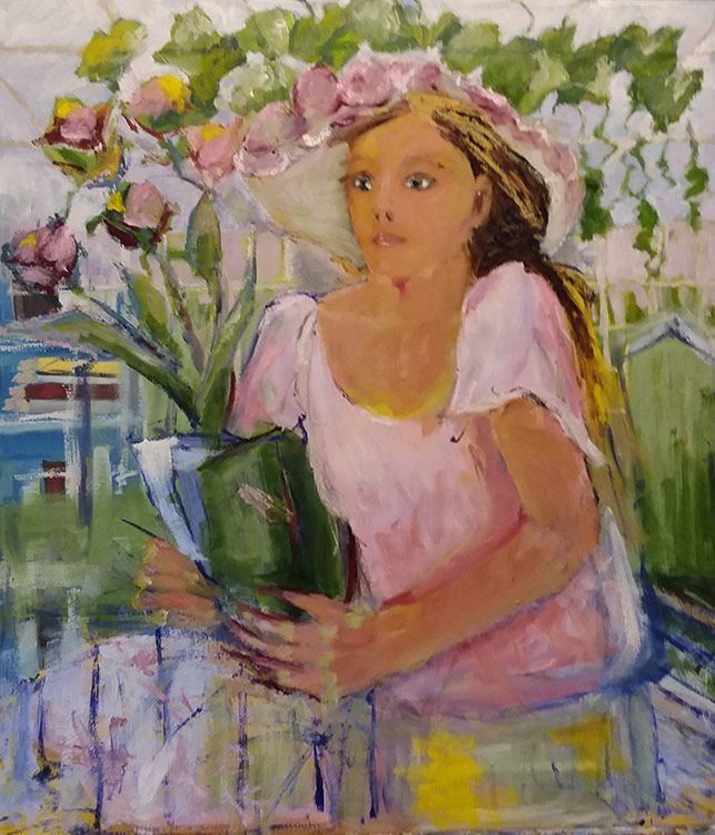 Girl Selling Flowers - 30 x 26 - Oil on Canvas