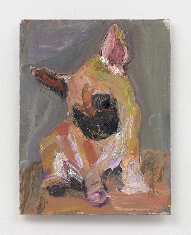 Puppy on Grey - 14 x18 - oil on canvas