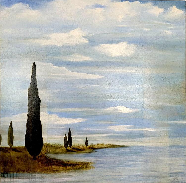 Sensing Time - 46 x 46 - Oil on Mahogany and Cedar