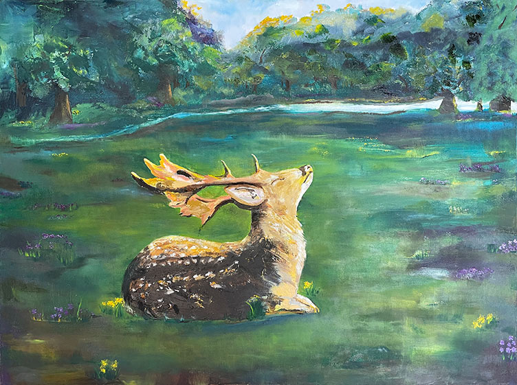 Stag's Respite - 30 x 40 - Oil on Canvas