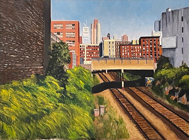 West 38th Street Bridge - Empire Line - 24 x 18 - Oil on Canvas