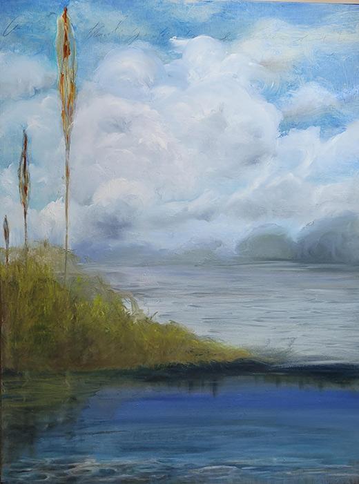 Meditating - 32 x 24 - Oil on Wood Panel