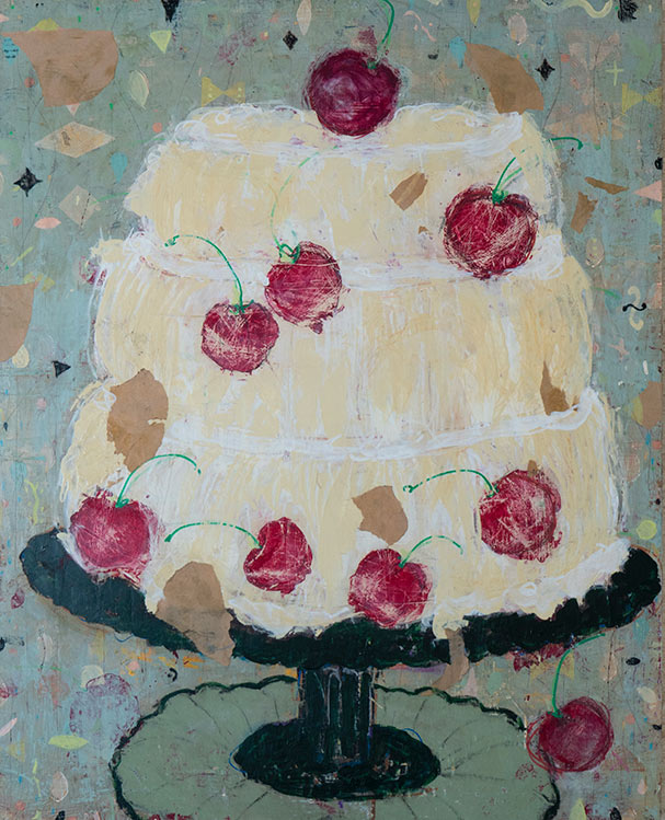 Old Fashioned Cherry Creme Cake - 24 x 30 - Acrylic and Paper on Board