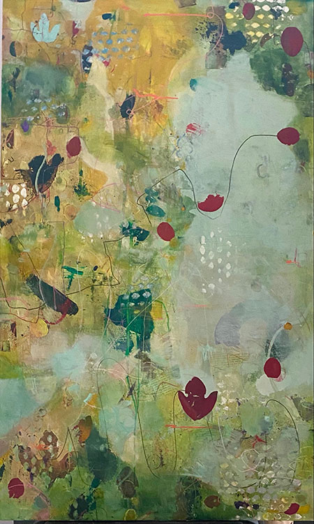 Summer Leaves - 36 x 30 - Mixed Media on Canvas